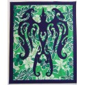 Tifaifai rectangle 90-110cm Oiseau de face Bleu marine fond Vert blanc