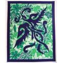 Patchwork Couvre-lits Vert blanc, tenture - oiseau - liberté, voyage