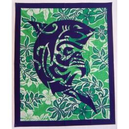 Dessus de lit bébé vert blanc, tenture, patchwork : tiki protection