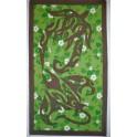 Tifaifai rectangle 80-130cm Raie Tortue Gris taupe fond Vert