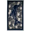 Tifaifai rectangle 60-110cm Dauphin Bleu marine fond Gris